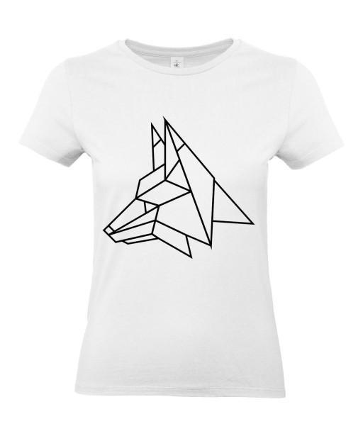 T-shirt Femme Tattoo Géométrique Loup [Tatouage, Design, Graphique, Animaux] T-shirt Manches Courtes, Col Rond
