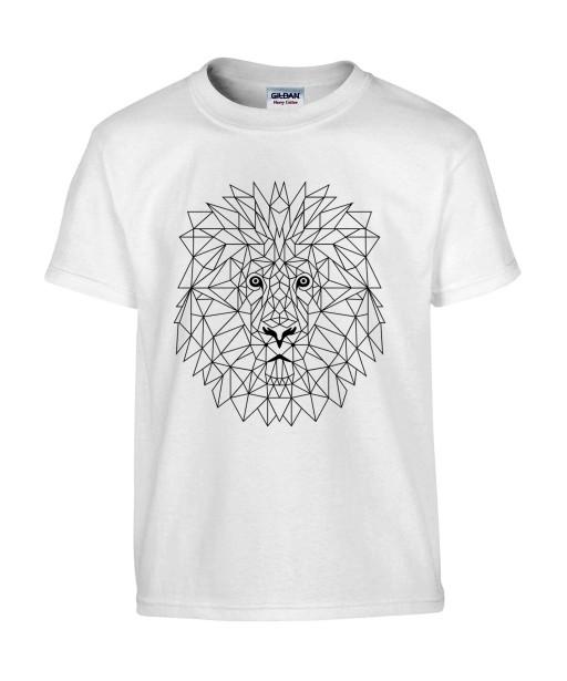 T-shirt Homme Tattoo Lion Géométrique [Tatouage, Animaux Design, Graphique, Zodiac] T-shirt Manches Courtes, Col Rond