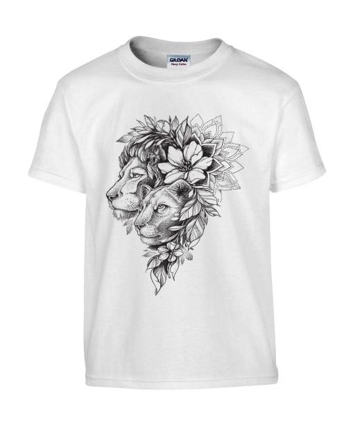 T-shirt Homme Tattoo Couple Lion [Tatouage, Animaux, Fleurs, Design, Graphique, Zodiac] T-shirt Manches Courtes, Col Rond