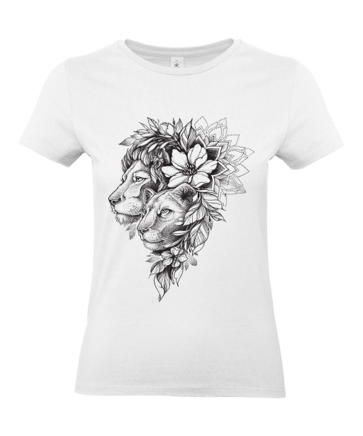 T-shirt Femme Tattoo Couple Lion [Tatouage, Animaux, Fleurs, Design, Graphique, Zodiac] T-shirt Manches Courtes, Col Rond