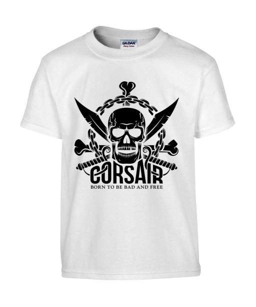 T-shirt Homme Tête de Mort Corsaire [Skull, Pirate, Sabres] T-shirt Manches Courtes, Col Rond