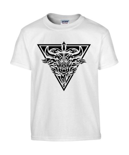 T-shirt Homme Tattoo Tribal Taureau [Tatouage, Animaux, Zodiac] T-shirt Manches Courtes, Col Rond