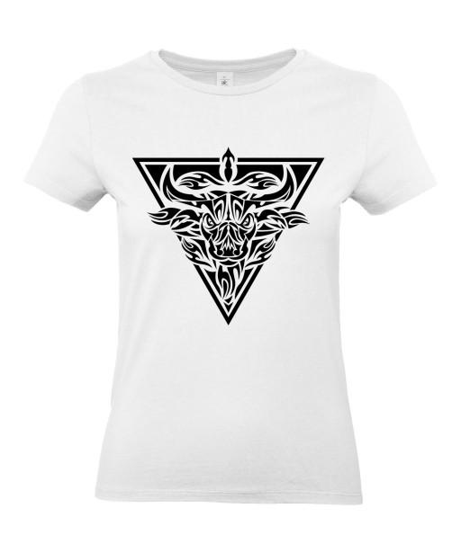 T-shirt Femme Tattoo Tribal Taureau [Tatouage, Animaux, Zodiac] T-shirt Manches Courtes, Col Rond