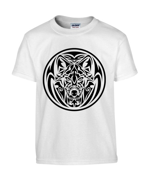 T-shirt Homme Tattoo Tribal Design Loup [Tatouage, Animaux, Graphique] T-shirt Manches Courtes, Col Rond