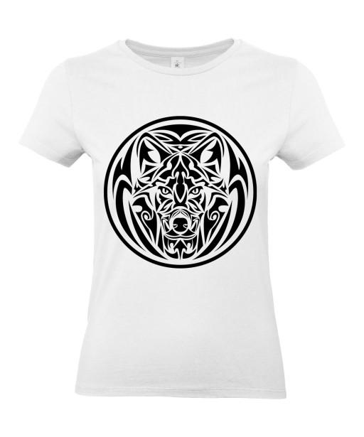 T-shirt Femme Tattoo Tribal Design Loup [Tatouage, Animaux, Graphique] T-shirt Manches Courtes, Col Rond