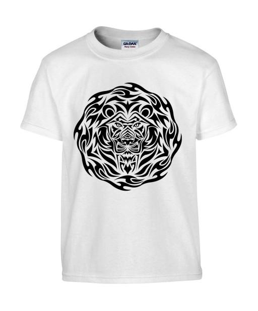 T-shirt Homme Tattoo Tribal Design Lion [Tatouage, Animaux, Graphique, Zodiac] T-shirt Manches Courtes, Col Rond