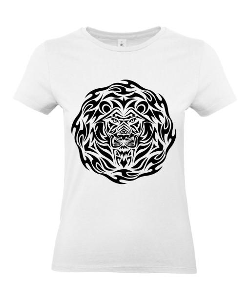 T-shirt Femme Tattoo Tribal Design Lion [Tatouage, Animaux, Graphique, Zodiac] T-shirt Manches Courtes, Col Rond