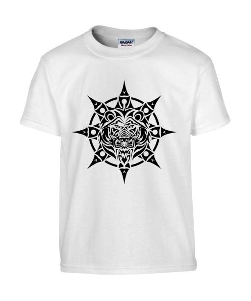 T-shirt Homme Tattoo Tribal Étoile Lion [Tatouage, Animaux, Graphique, Design, Zodiac] T-shirt Manches Courtes, Col Rond
