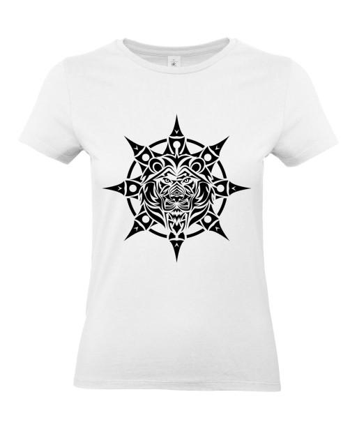 T-shirt Femme Tattoo Tribal Étoile Lion [Tatouage, Animaux, Graphique, Design, Zodiac] T-shirt Manches Courtes, Col Rond