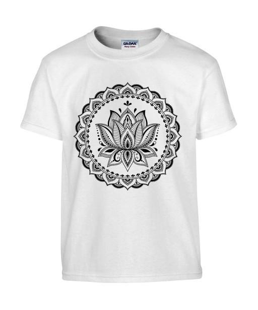 T-shirt Homme Tattoo Fleur Lotus [Tatouage, Religion, Zen, Spiritualité, Yoga, Mandala, Méditation] T-shirt Manches Courtes, Col Rond