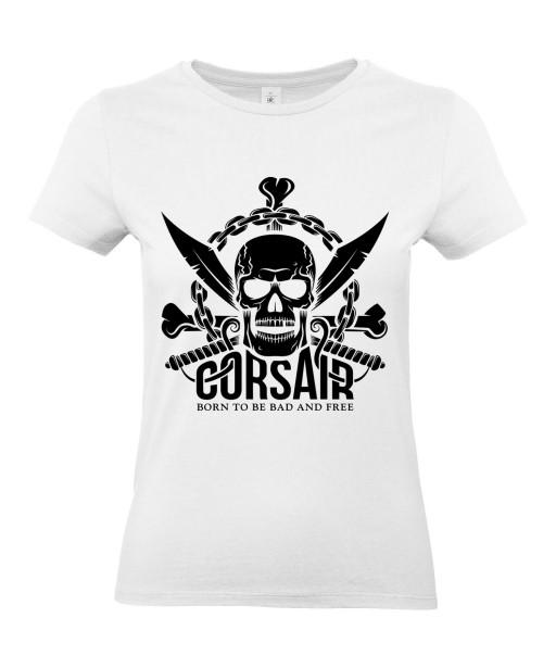T-shirt Femme Tête de Mort Corsaire [Skull, Pirate, Sabres] T-shirt Manches Courtes, Col Rond
