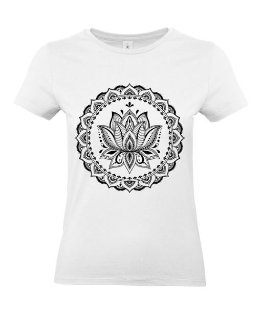 T-shirt Femme Tattoo Fleur Lotus [Tatouage, Religion, Zen, Spiritualité, Yoga, Mandala, Méditation] T-shirt Manches Courtes, Col Rond
