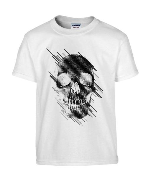 T-shirt Homme Tête de Mort Graphique [Skull, Abstract, Abstrait, Gothique] T-shirt Manches Courtes, Col Rond