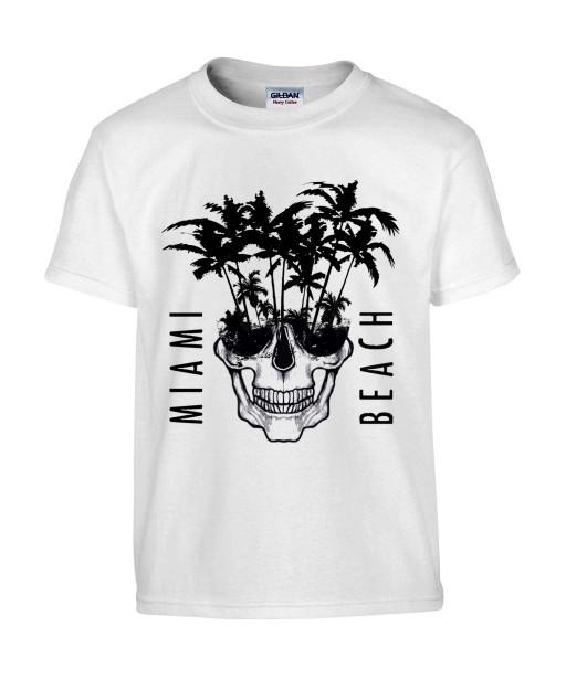 T-shirt Homme Tête de Mort Miami [Skull, Graphique, Design, Beach, Summer] T-shirt Manches Courtes, Col Rond