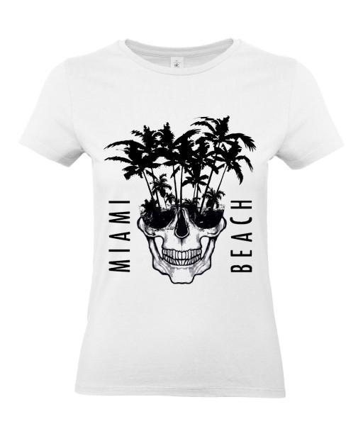 T-shirt Femme Tête de Mort Miami [Skull, Graphique, Design, Beach, Summer] T-shirt Manches Courtes, Col Rond